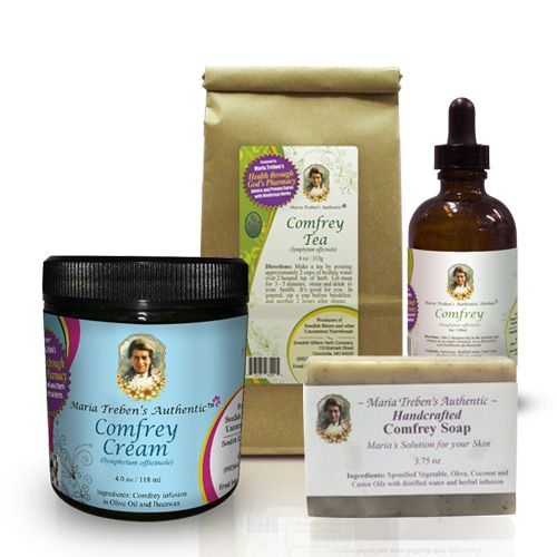1 - Comfrey Tea 4oz, 1 - Comfrey Tincture 4oz, 1 - Comfrey Cream, and 1 - Comfrey Soap