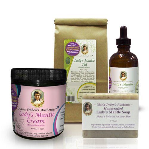 1 - Lady's Mantle Tea 4oz, 1 - Lady's Mantle Tincture 4oz, and 1 - Lady's Mantle Cream