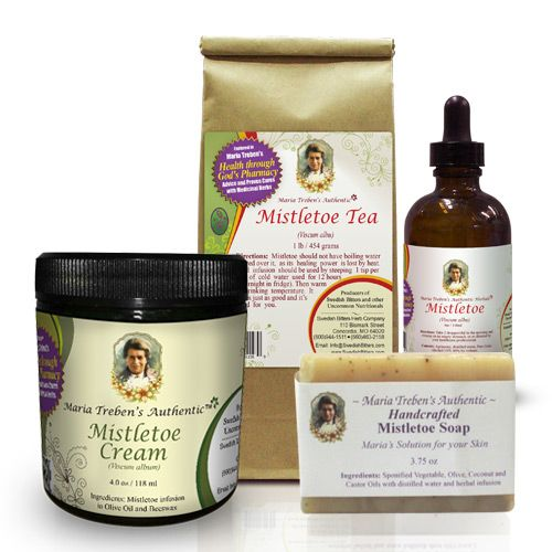 1 - Mistletoe Tea 1lb, 1 - Mistletoe Tincture 4oz, 1 - Mistletoe Soap, and 1 - Mistletoe Cream