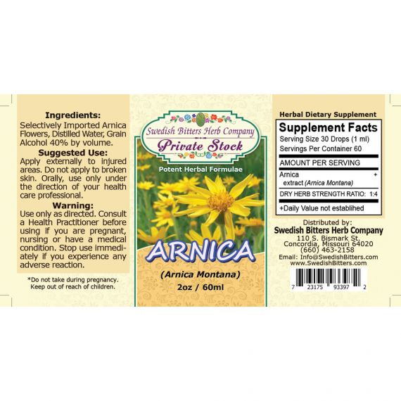 Arnica Flower, tincture (2oz/59ml) - Swedish Bitters Herb Company Private Stock