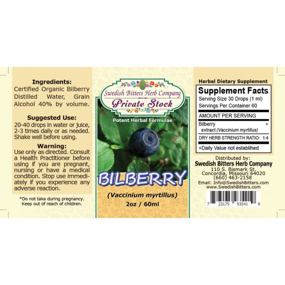 Bilberry, tincture (2oz/59ml) - Swedish Bitters Herb Company Private Stock