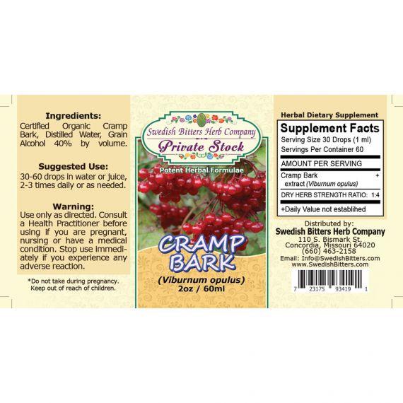 Cramp Bark, tincture (2oz/59ml) - Swedish Bitters Herb Company Private Stock