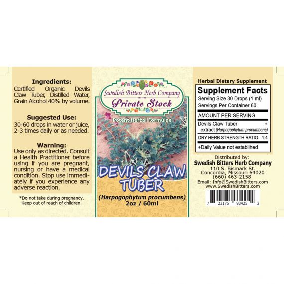 Devil's Claw Tuber, tincture (2oz/59ml) - Swedish Bitters Herb Company Private Stock