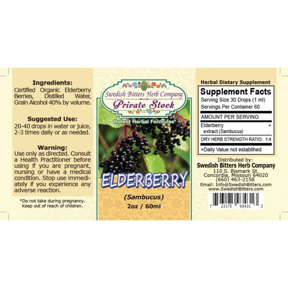 Elderberry, tincture (2oz/59ml) - Swedish Bitters Herb Company Private Stock