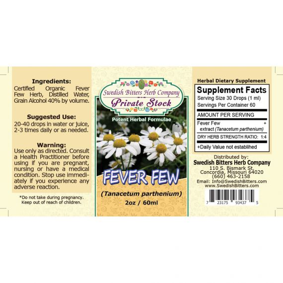 Feverfew Leaf, tincture (2oz/59ml) - Swedish Bitters Herb Company Private Stock