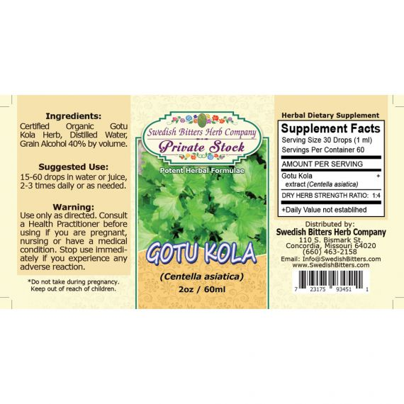 Gotu Kola Leaf, tincture (2oz/59ml) - Swedish Bitters Herb Company Private Stock