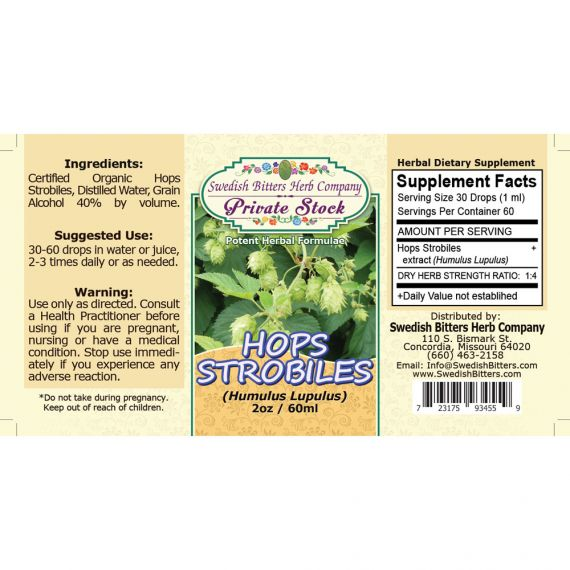 Hops Strobiles, tincture (2oz/59ml) - Swedish Bitters Herb Company Private Stock