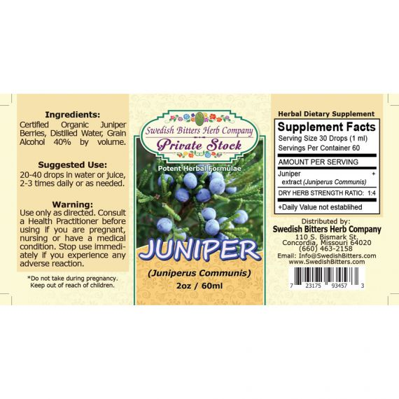 Juniper, tincture (2oz/59ml) - Swedish Bitters Herb Company Private Stock