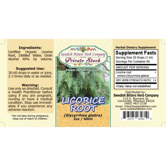 Licorice Root, tincture (2oz/59ml) - Swedish Bitters Herb Company Private Stock