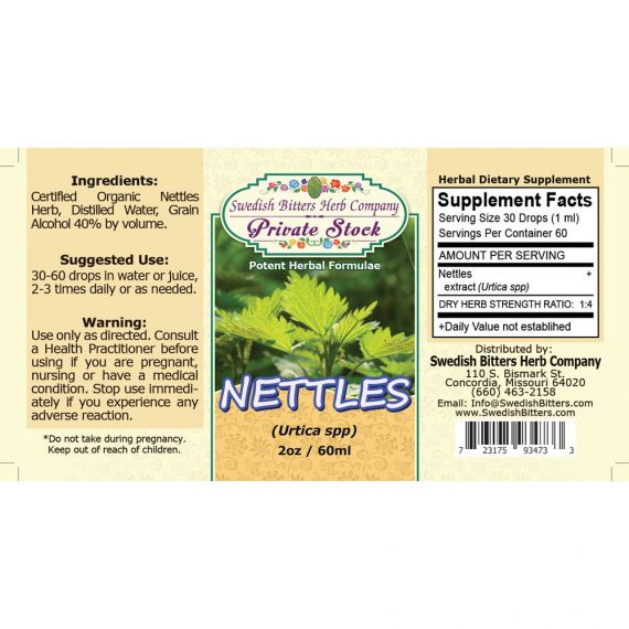 Nettles Leaf, tincture (2oz/59ml) - Swedish Bitters Herb Company Private Stock
