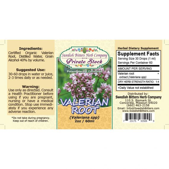Valerian Root, tincture (2oz/59ml) - Swedish Bitters Herb Company Private Stock