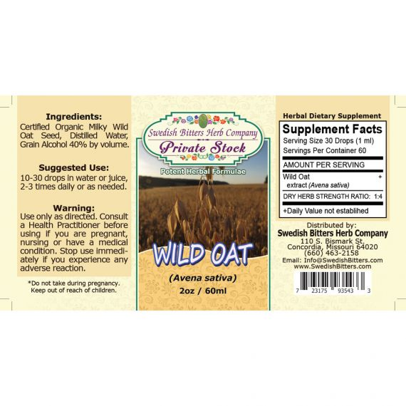 Wild Oat, tincture (2oz/59ml) - Swedish Bitters Herb Company Private Stock