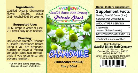 Chamomile Flower, tincture (2oz/59ml) - Swedish Bitters Herb Company Private Stock