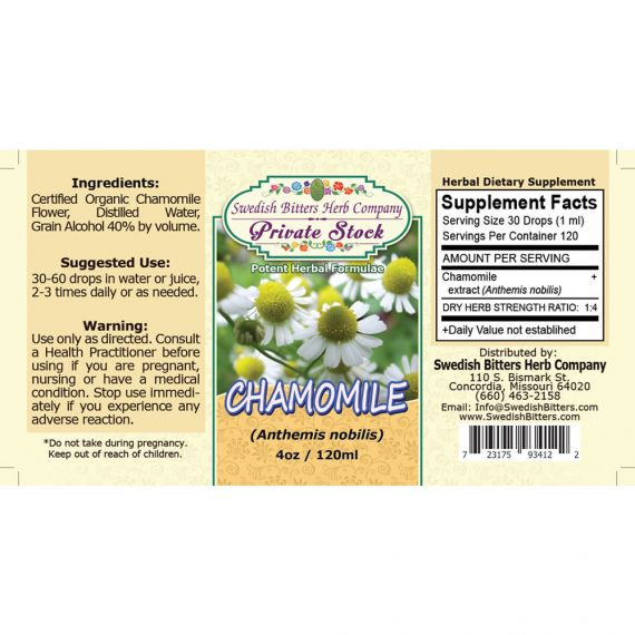 Chamomile Flower, tincture (4oz/118ml) - Swedish Bitters Herb Company Private Stock