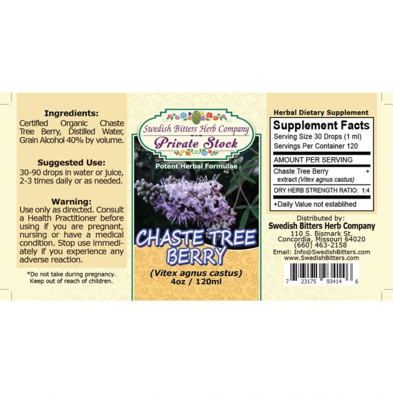 Chaste Tree Berry, tincture (4oz/118ml) - Swedish Bitters Herb Company Private Stock
