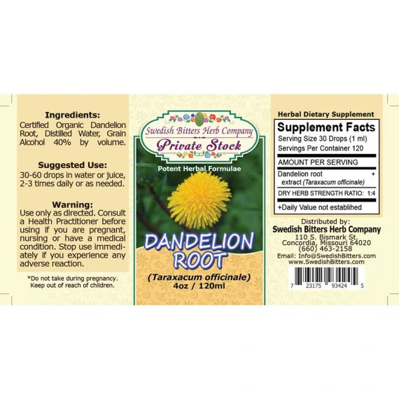 Dandelion Root, tincture (4oz/118ml) - Swedish Bitters Herb Company Private Stock