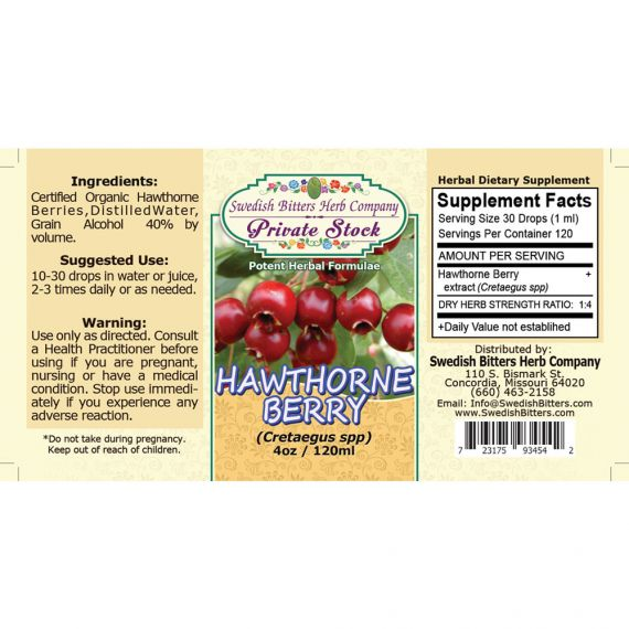 Hawthorne Berry, tincture (4oz/118ml) - Swedish Bitters Herb Company Private Stock