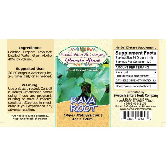 Kava Root, tincture (4oz/118ml) - Swedish Bitters Herb Company Private Stock