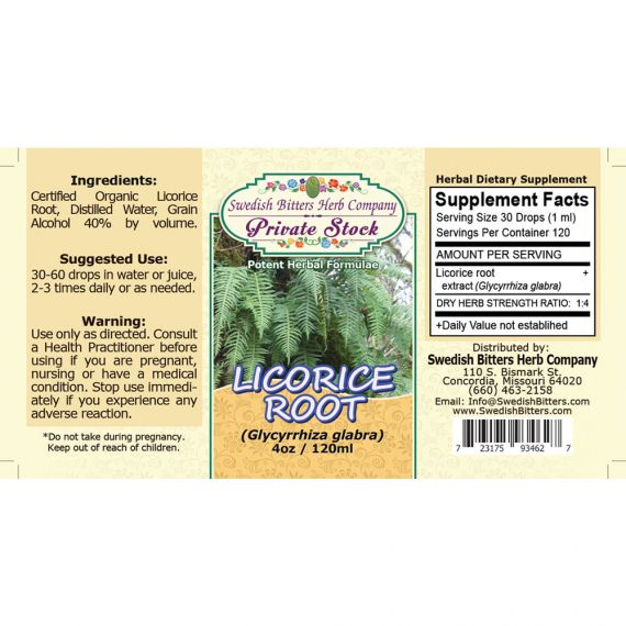 Licorice Root, tincture (4oz/118ml) - Swedish Bitters Herb Company Private Stock