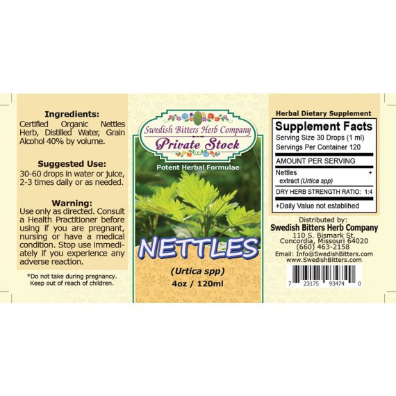 Nettles Leaf, tincture (4oz/118ml) - Swedish Bitters Herb Company Private Stock
