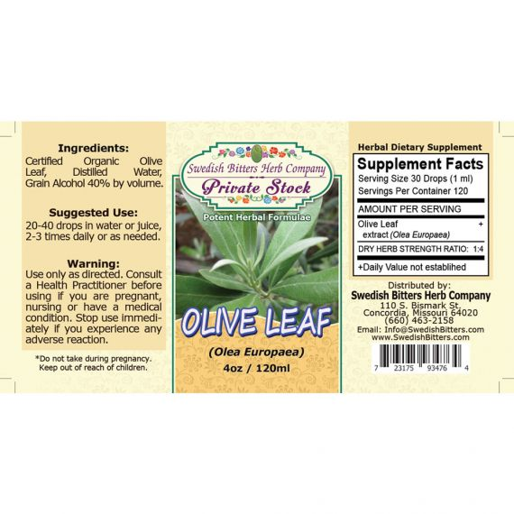Olive Leaf, tincture (4oz/118ml) - Swedish Bitters Herb Company Private Stock