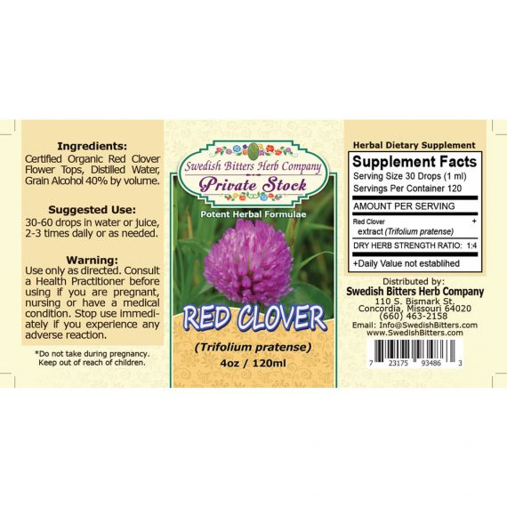 Red Clover Blossoms, tincture (4oz/118ml) - Swedish Bitters Herb Company Private Stock