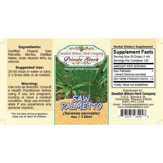 Saw Palmetto, tincture (4oz/118ml) - Swedish Bitters Herb Company Private Stock