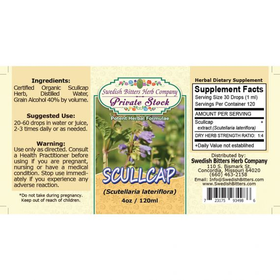 Scullcap, tincture (4oz/118ml) - Swedish Bitters Herb Company Private Stock