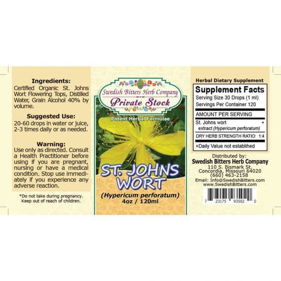 St. John's Wort Flowering Tops, tincture (4oz/118ml) - Swedish Bitters Herb Company Private Stock