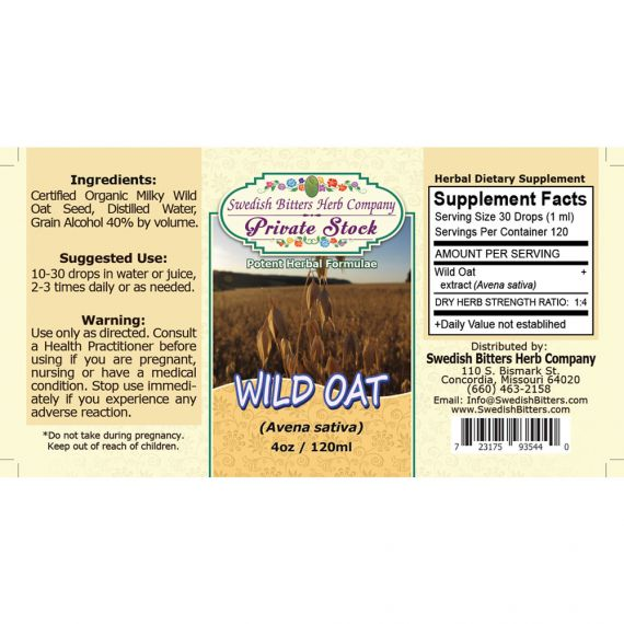 Wild Oat, tincture (4oz/118ml) - Swedish Bitters Herb Company Private Stock