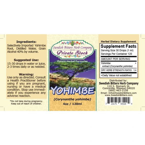 Yohimbe, Tincture (4oz/118ml) - Swedish Bitters Herb Company Private Stock