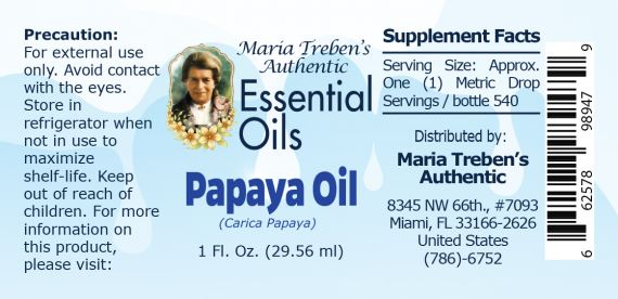Papaya Oil (Carica papaya) - 30 ml.