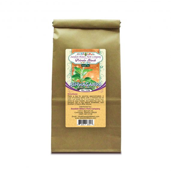 Ashwaganda Root (Withania somnifera) Herbal Tea (4oz/113g) - Swedish Bitters Herb Company Private Stock