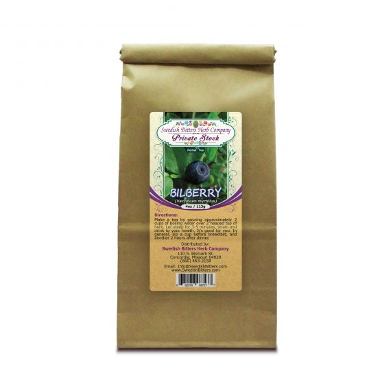 Bilberry (Vaccinium myrtillus) Herbal Tea (4oz/113g) - Swedish Bitters Herb Company Private Stock