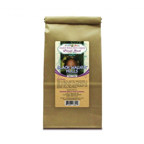 Black Walnut Hulls - Green stage (Juglans nigra) Herbal Tea (4oz/113g) - Swedish Bitters Herb Company Private Stock