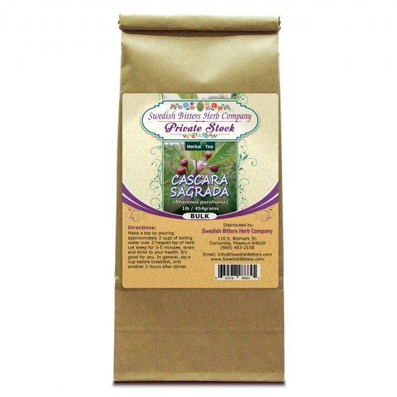 Cascara Sagrada Bark (Rhamnus purshiana) Herbal Tea (1lb/454g) BULK - Swedish Bitters Herb Company Private Stock