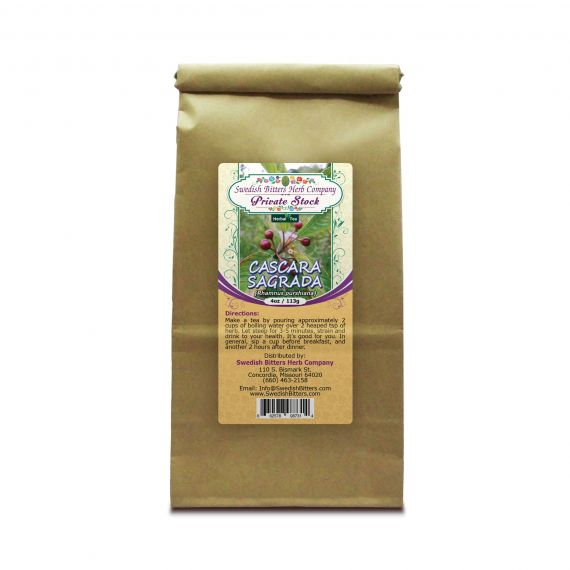 Cascara Sagrada Bark (Rhamnus purshiana) Herbal Tea (4oz/113g) - Swedish Bitters Herb Company Private Stock
