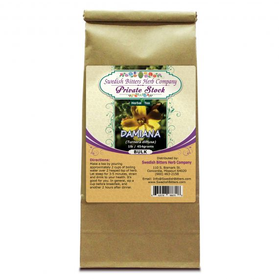 Damiana Herb (Turnera diffusa) Herbal Tea (1lb/454g) BULK - Swedish Bitters Herb Company Private Stock