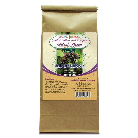 Elderberry (Sambucus nigra) Herbal Tea (1lb/454g) BULK - Swedish Bitters Herb Company Private Stock