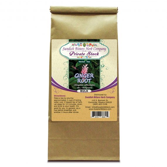 Ginger Root (Zingiber officinale) Herbal Tea (1lb/454g) BULK - Swedish Bitters Herb Company Private Stock