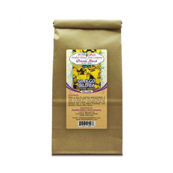 Ginkgo Leaf (Ginkgo Biloba) Herbal Tea (4oz/113g) - Swedish Bitters Herb Company Private Stock