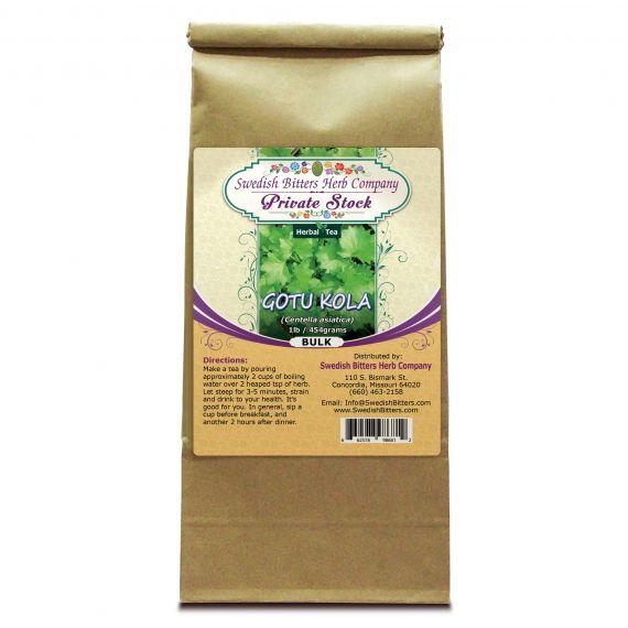 Gotu Kola Leaf (Centella asiatica) Herbal Tea (1lb/454g) BULK - Swedish Bitters Herb Company Private Stock