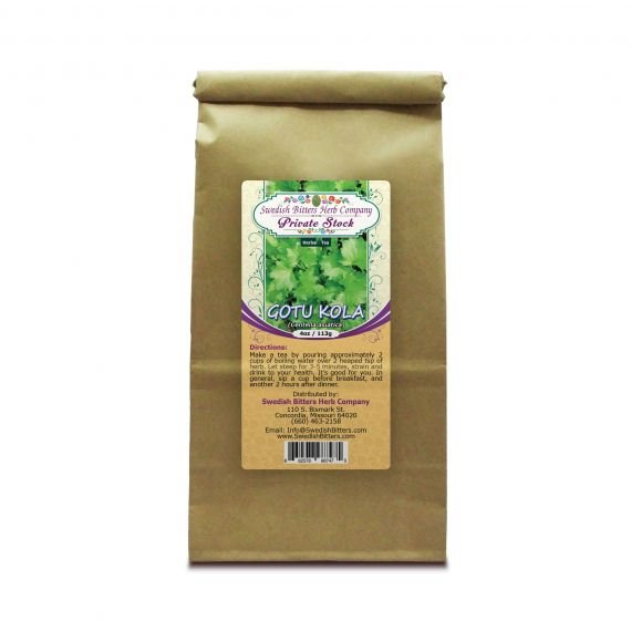 Gotu Kola Leaf (Centella asiatica) Herbal Tea (4oz/113g) - Swedish Bitters Herb Company Private Stock
