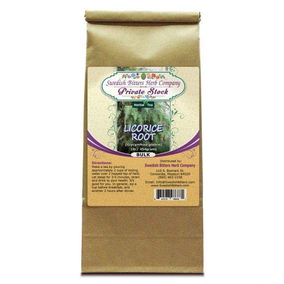 Licorice Root (Glycyrrhiza glabra) Herbal Tea (1lb/454g) BULK - Swedish Bitters Herb Company Private Stock