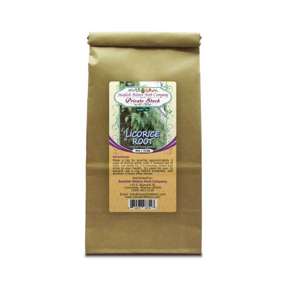 Licorice Root (Glycyrrhiza glabra) Herbal Tea (4oz/113g) - Swedish Bitters Herb Company Private Stock