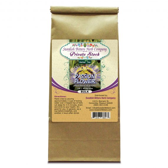 Passion Flower (Passiflora incarnata) Herbal Tea (1lb/454g) BULK - Swedish Bitters Herb Company Private Stock
