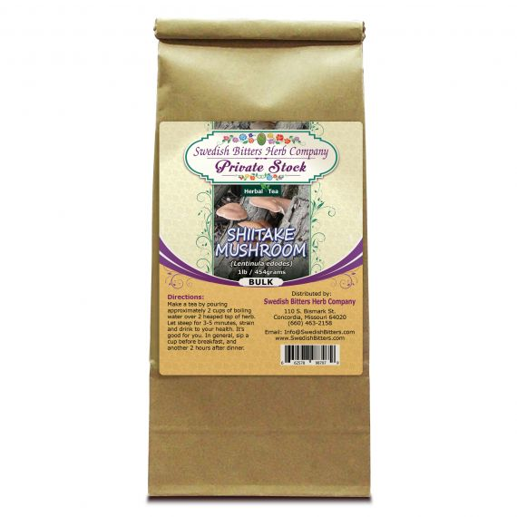 Shiitake Mushroom (Lentinus edodes) Herbal Tea (1lb/454g) BULK - Swedish Bitters Herb Company Private Stock