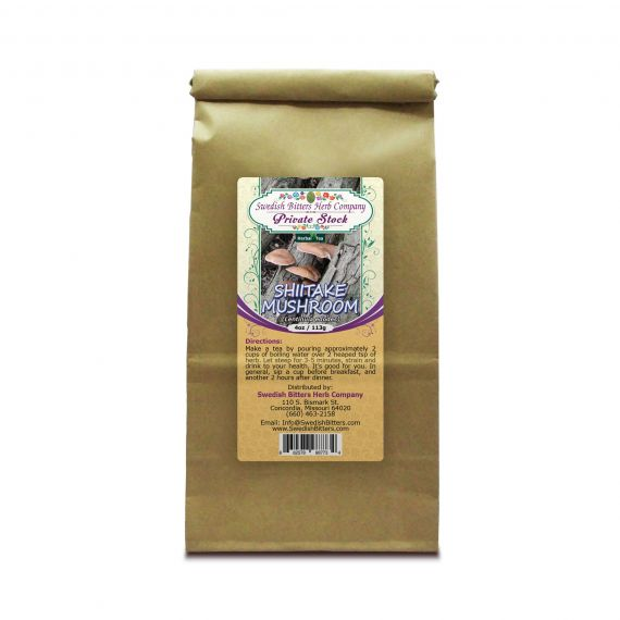 Shiitake Mushroom (Lentinus edodes) Herbal Tea (4oz/113g) - Swedish Bitters Herb Company Private Stock