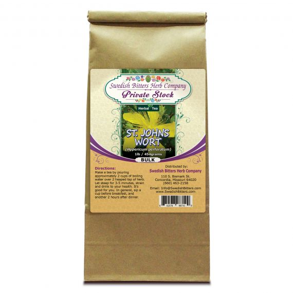 St. John's Wort Flowering Tops (Hypericum Perforatum) Herbal Tea (1lb/454g) BULK - Swedish Bitters Herb Company Private Stock