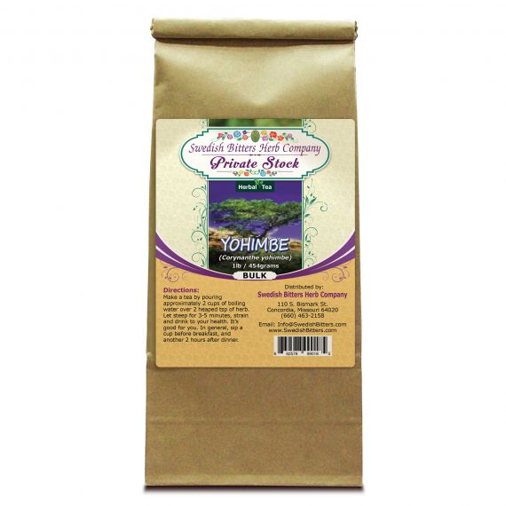 Yohimbe (Pausinystalia yohimbe) Herbal Tea (1lb/454g) BULK - Swedish Bitters Herb Company Private Stock